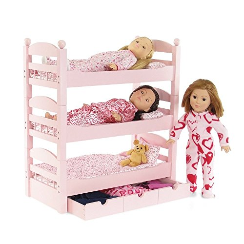 18 Inch Doll Triple Bunk Bed Stackable Wooden Furniture Made To Fit American Girl Or Other 18