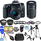 Canon EOS 77D EF-S 18-55 IS STM Kit With 55-250mm Lens, Flash, Tripods, Filter Kits, 2x 32GB SanDisk Memory Card + Much More #189C016 [International Version] (Mega Bundle + 55-250mm)
