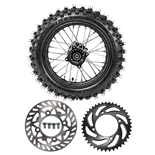 ZXTDR Rear 80/100-12 Tire Disc Brake Wheel Rim With 12mm Bearing & 190mm Rear Brake Disc Rotor & 41T Sprocket for Pit Pro Dirt Bike