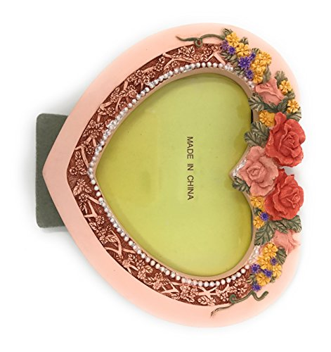 Glama Heart Shaped Embossed Floral Rose Picture (Embossed Hearts Frame)