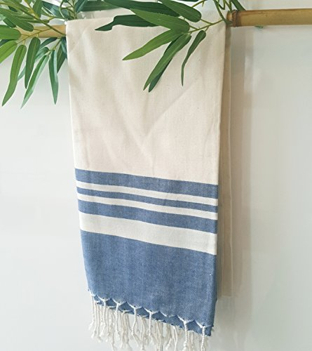 Secret Sea Collection Lightweight Turkish Peshtemal Towel %100 Bamboo 70'' x 35'' (Navy Blue) - They are super soft, lightweight, quick drying and easy to carry. Highly versatile; use on the beach, in the bathroom, sarong by the pool or a throw for your home. 30% less susceptible to odours than cotton. They will become softer and more absorbent after each wash. - bathroom-linens, bathroom, bath-towels - 51M1ze%2BbSIL -