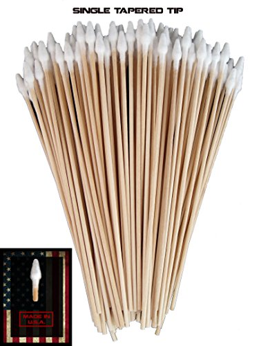 Double Tapered - (Single Sided Tapered Tip) Type-III 100pc Gun Cleaning 6 Inch American Made Cotton Swabs