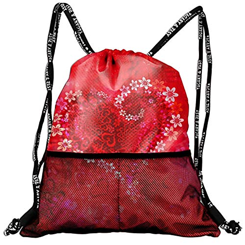 (Basic Drawstring Red Flowers Tote Cinch Sack Promotional Backpack Bag 10 Patterns Available)