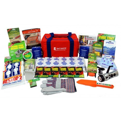72 Hour Emergency Survival Kit | Designed for Earthquake, Winter Storms, Power Outage, Fire, Flooding, Tornado (4 Person Deluxe)