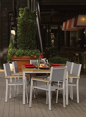 (Oxford Garden Travira 7 Piece Aluminum with Natural Tekwood Sling Dining Set, Titanium)