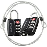 2 Pack Lumintrail TSA Approved All Metal International Travel Luggage Resettable Combination Lock with 4-ft Steel Cable for Suitcase and Baggage - Black 2 pack