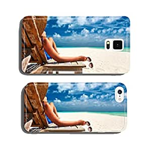 Woman at beach holding sunglasses cell phone cover case Samsung S5