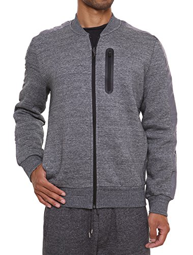 FORBIDEFENSE Fleece Sweatshirt Jacket Dotswarm Sweater-Comfort Front Zip Jacket Cozy Sport Outwear Casual,Snow Melange,X-Large