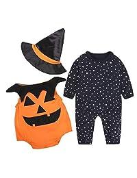 SUPEYA Toddler Baby Halloween Long Sleeve Rompers Outfits Pumpkin Print 3Pcs Set