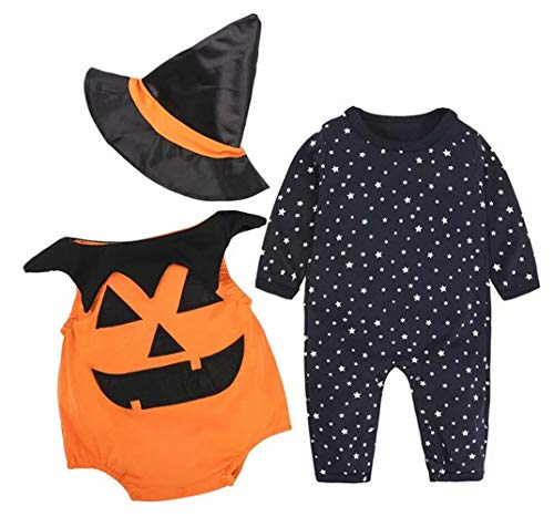 EGELEXY Baby Halloween Outfit Lovely Pumpkin Costume for Halloween Party Clothing Set Size 3-6 Months/Tag70 (Black)
