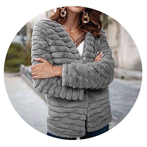 Love & Freedome Faux Fur Coat Women Winter Casual et Warm Slim Fake Fur Women Coat et Veste Fourrure Femme,Gray,S ()