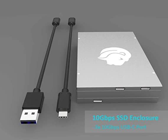 GLOTRENDS 3 in1 SSD Enclosure for M.2 NVME SSD, M.2 SATA SSD and 2.5 inch SATA SSD (Leo)