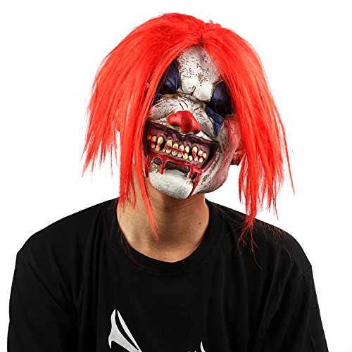 XIAO MO GU Latex Halloween Costume Mask Scary Clown Mask Red Hair Clown Halloween Decorations Masquerade Party (red (Minion Couples Costume)