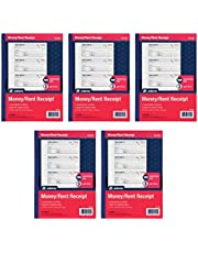 """Adams Money and Rent Receipt Books, 3-Part Carbonless, 7-5/8"""" x 10-7/8"""", Bound Wraparound Cover, 100 Sets per Book, 4 Receipts per Page, 5 Books per Pack (TC1182-5)"""