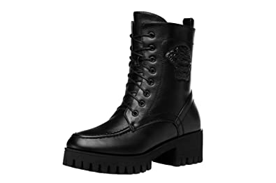 Women's Winter Plush Combat Boot Leather Platform Short Boot