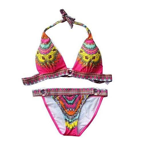 Aidonger Para mujeres con anillos de colores de impresión del bikini del cojín en el pecho del traje de baño Rojo