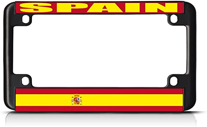 Soporte para placa de matrícula de la bandera de España para bicicleta, color negro: Amazon.es: Coche y moto