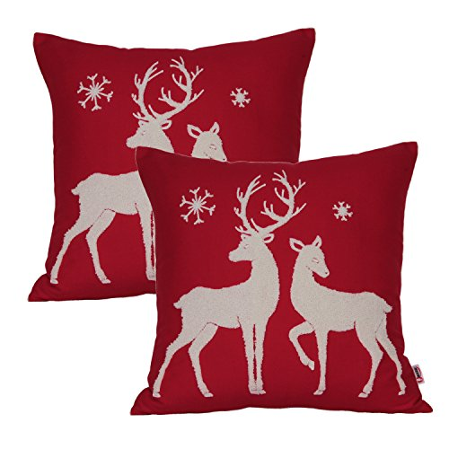Queenie - 2 Pcs Christmas Series Embroidered Cotton Linen Decorative Pillowcase Cushion Cover for Sofa Throw Pillow Case (2, Two Reindeers) (Cushion Reindeer)