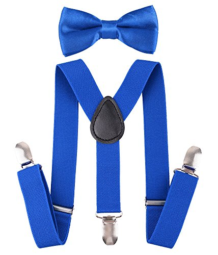 Floral Leather Suspenders - Livingston Adjustable Elastic Suspender with Bow Ties for Boys Girls, Royal Blue