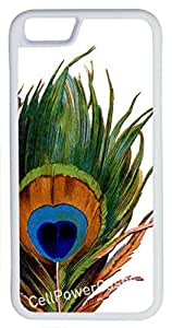 iPhone 6 Case, CellPowerCasesTM Peacock Feather on White Background [Protect Series] -iPhone 6 (4.7) White Case [iPhone 6 (4.7) Protective V1 White]