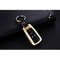 [M.JVisun] Car Remote Keyless Entry Key Case Cover Fob Skin for Chevrolet Aveo Trax Epica Lova RV Malibu Sail3 Camaro , Aircraft Aluminum Protective Shell Genuine Leather With Key Chain - Gold