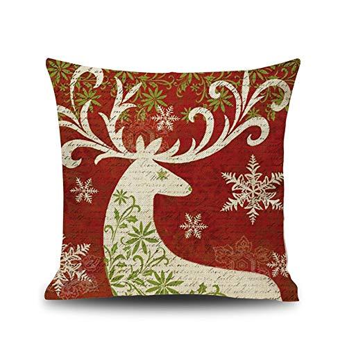ME COO Deep red Christmas Series The Christmas elk Christmas Tree Hug Pillow Covers Decorative Pillow Covers Standard Pillow coer 18 Inches × 18 Inches 1Pcs