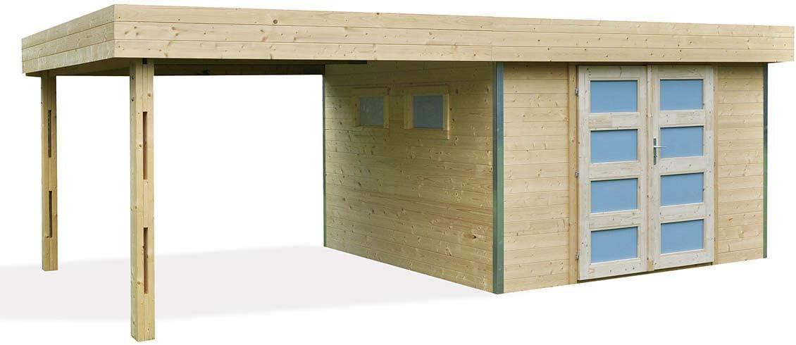 LOUNJ Caseta de jardín de madera en bruto, con toldo cubierto 17 ...