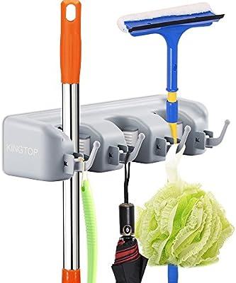 Mop and Broom Holder Kingtop Garage Storage Rack Hooks Wall Mounted Organizer for Home Garden Tool Shelving (3 position 4 hooks)