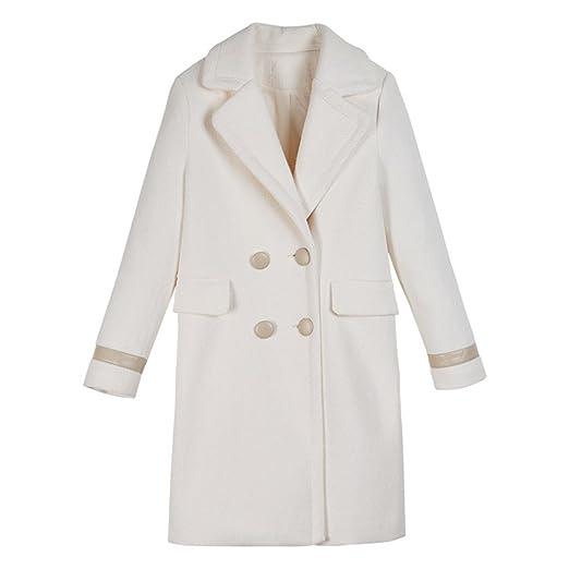 88ee7779ddd Amazon.com  DOLANG Fashion Women Spring Long Coat White Double ...