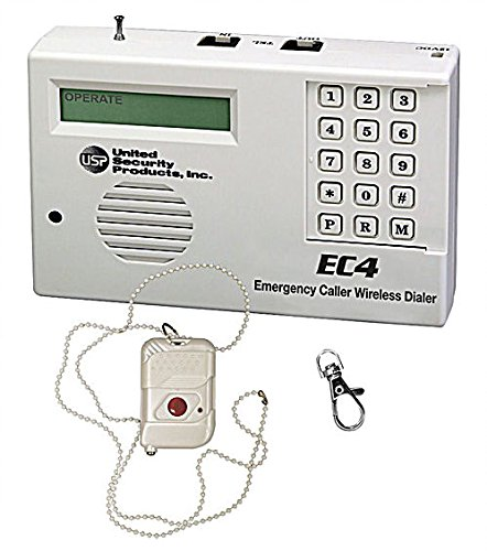 EC-4 Emergency Caller Wireless Dialer Professional Grade Medical Alert System with Single Button Pendant