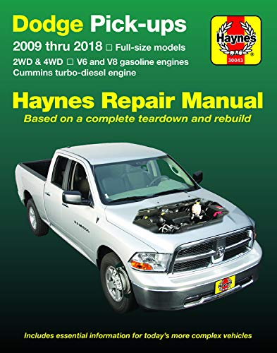 Dodge V6 & V8 Gas & Cummins turbo-diesel Pick-ups (09-18) Haynes Repair Manual (Does not include 2009 fleet models with the 5.9L diesel engine or the 3.0L V6 diesel engine.) (Haynes Automotive)