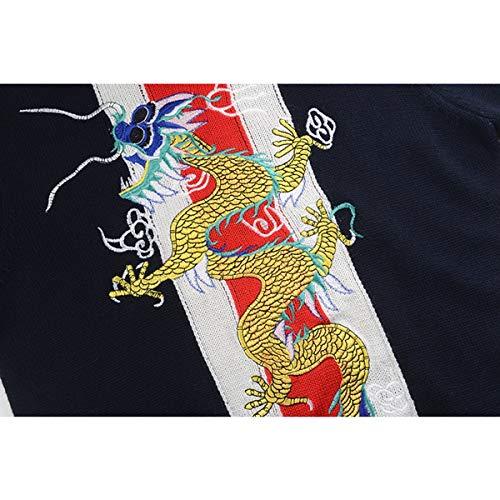 Design Pista Il Allentato Inverno Maglia s Sikesong Pullover Unisex Della Dragon A Ricamate Maglione Nero S Abbigliamento Autunno Donna Jumper Strisce td5HvwTqv