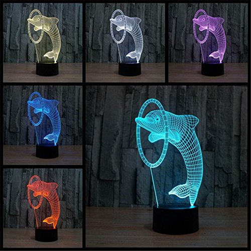 Price comparison product image 3D Dolphin Lamp,  Elstey Optical Illusion 7 Color Change USB Touch LED Light Night Desk Lamp