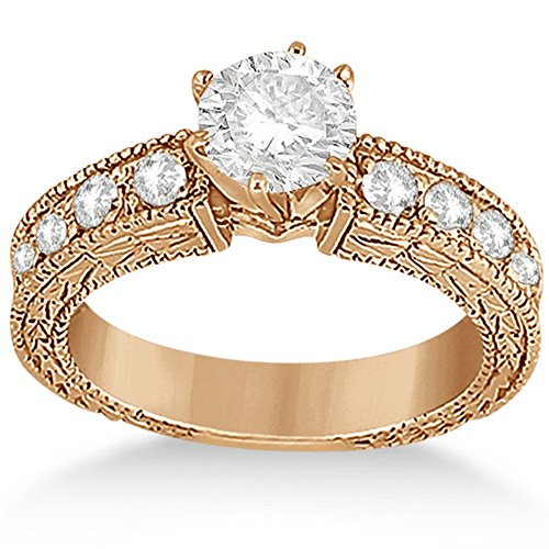 Diamond Antique Engagement Ring Setting (0.70ct Antique Style Diamond Engagement Ring Setting 18k Rose Gold)