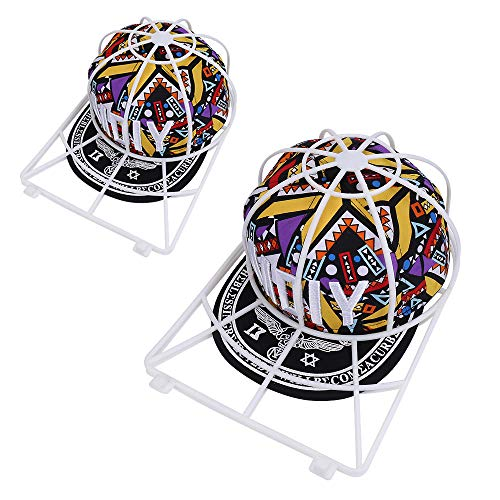 Hat Washer for Washing Machine,2 Pack Baseball Caps Washer for Dishwasher,Curved Bill Plastic Hat Washing Frame Cage Basket,Ball Cap Cleaner Holder Wash Shaper Protector,Sports Hat Cleaning Rack ()