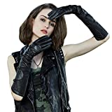 Fioretto Womens Gorgeous Leather Gloves Long Winter Warm Driving Gloves Show Cosplay Leather Gloves with Buckle Covered on Back Arm Warmer Black 8