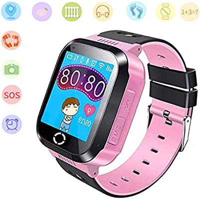 Jslai Niños Smartwatch Relojes, GPS/LBS Kids Smart Watch de Alarma SOS Infantil Relojes de Pulsera Cámara Reloj móvil Mejor Regalo para Niño niña de ...