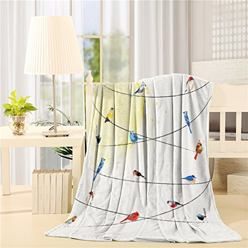 Cloud Dream Fleece Blanket,Rowley Birds Decor, Super Soft Luxurious Throw Blanket, 60