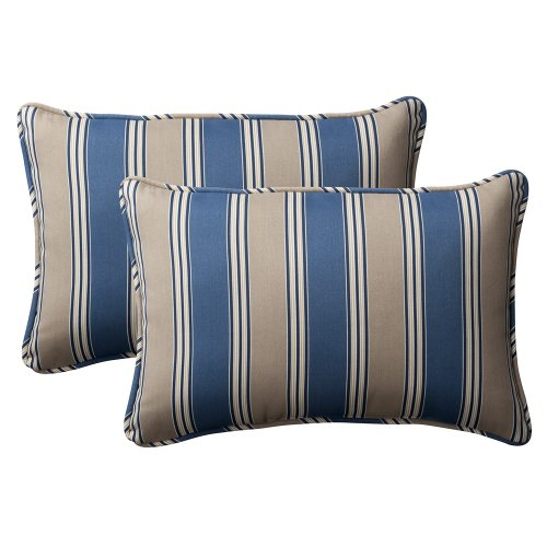Pillow Perfect Decorative Blue/Tan Striped Toss Pillow, Rectangle, 2-Pack