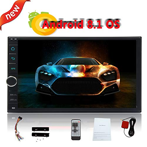 Eincar Auto Android 8.1 2GB RAM + 16GB ROM Car Stereo Double Din No-DVD Player 7 Inch Touch Screen Autoradio in Dash GPS Navigation Bluetooth FM/AM/WiFi Quad-core Colorful Lights Headunit