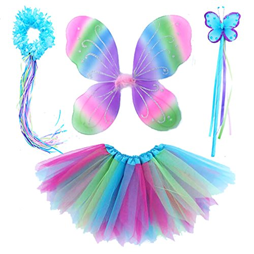 4 PC Girls Fairy Wings Butterfly Costume Set with Wings, Tutu, Wand & Halo (Colorful) ()