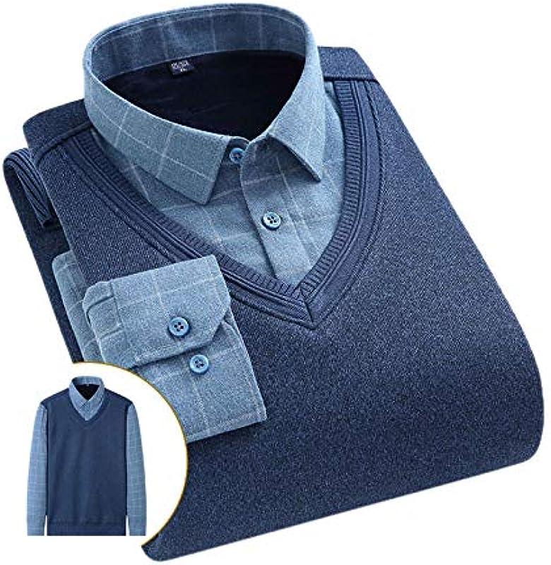 Elonglin Męskie Jungen Dicke Sweater Strick Pullover Hemd Langarmshirts mit Warmfutter Freizeit Slim Fit Blau 14 S: Odzież
