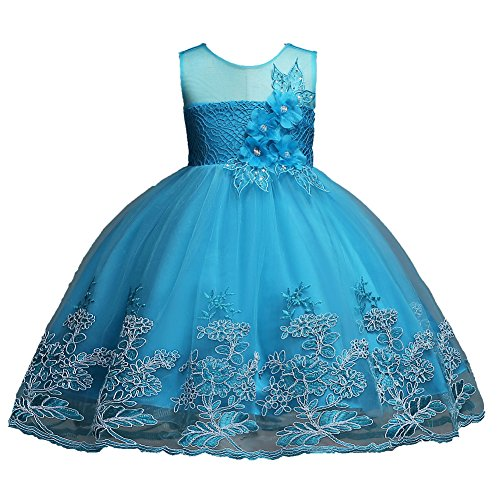 Toddler Dress Size 1 2 Flower Girl Dresses for Wedding Girls Lace Sequins Pageant Dress 6-12 Months Elegant Tulle Dresses Clothes Sleeveless Playwear Frocks Blue Dance Pageant Dress Cute (Blue 100)