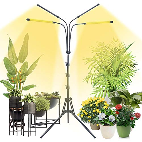 Grow Lights for Indoor Plants, Plant Lights with Tripod Stand Adjustable 16.5-62 inch, 4/8/12H Cycle Timer, 6 Dimmable Brightness, 4 Lighting Modes, 3 Lamp Bead Modes, 4 Head for Tall &Large Plants