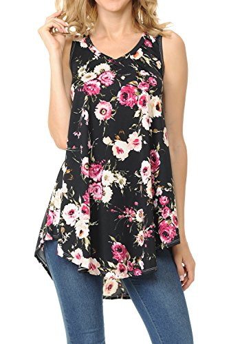 Shamaim Womens Sleeveless Flattering Comfy Tunic Loose Fit Flowy Top Print 1 X-Large (Print Screen Print Tunic)