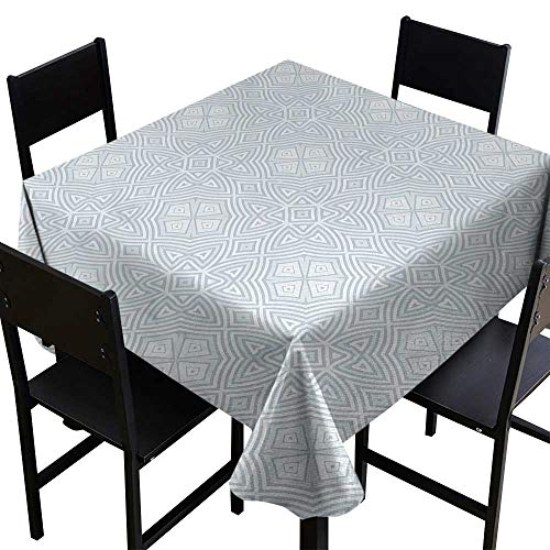 Glifporia Square Tablecloth Celtic,Pale Colored Square and Star Shaped Original Retro Tribal Celtic Knot Patterns,Soft Blue Grey,W54 x L54 Tablecloth for Rectangle Table