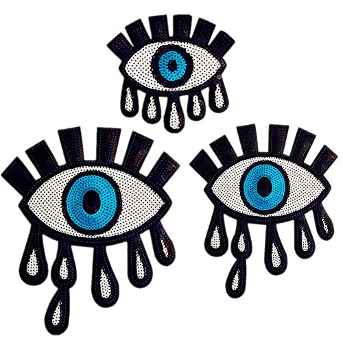 3 Pcs Sequins Embroidered Sexy Eye Patch Clothes Stickers Bag Sew Iron Patches On Applique DIY Label Apparel Sewing Clothing