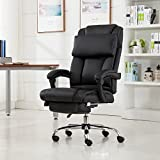 Belleze Executive Reclining Office Chair High Back PU Leather Footrest Armchair Recline w/Pillow -Black