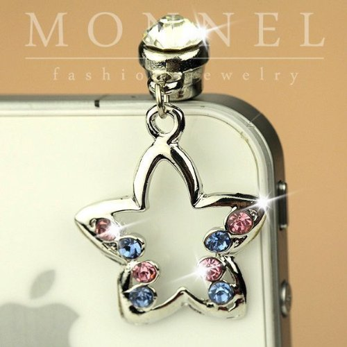 Ip169 Cute Crystal Star Ear Cap Anti Phone Dust Plug Phone Charm for Smartphone Iphone 4 (Star Cell Phone Charm)