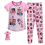Barbie Pajamas for Girls Pants Shirt and Doll Nightgown 3 Piece Set